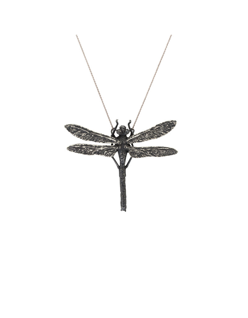 Dragonfly Pendant in Oxidized Silver