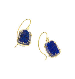 Rough Lapis Earrings in 18k Gold