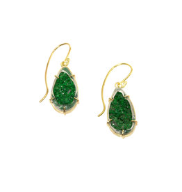 Uvarovite Green Garnet Earrings in 18k Gold