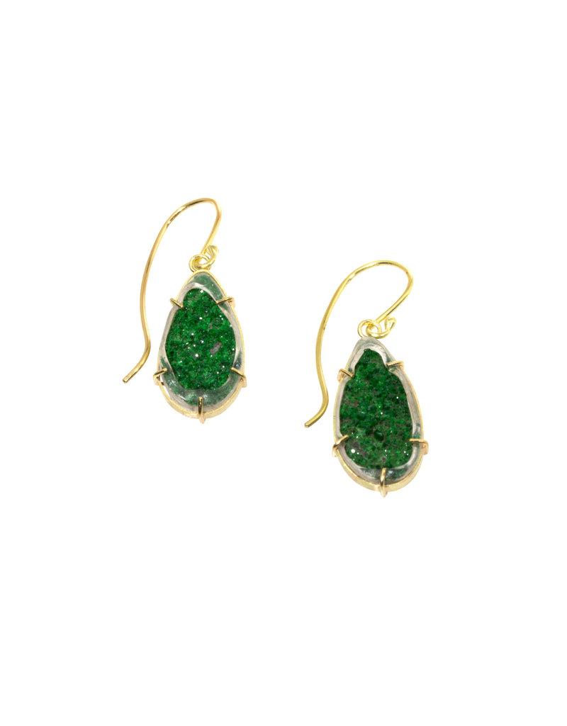 Uvarovite Green Garnet Earrings in 18k Gold