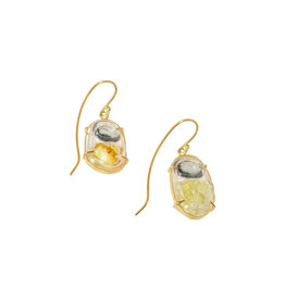 Grey Spinel and Yellow Zincite Earrings in 18k Yellow Gold and Heat Shrink Tubing