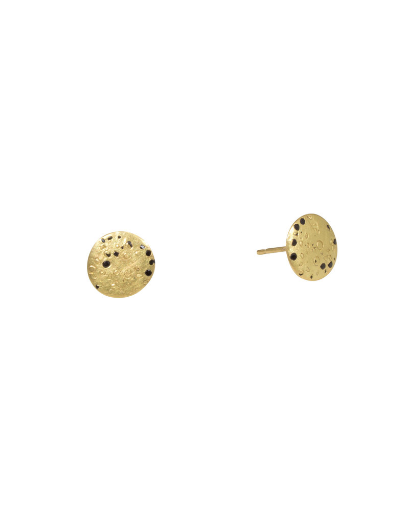 Medium Yellow Gold Confetti Post Earrings with Black Sapphires