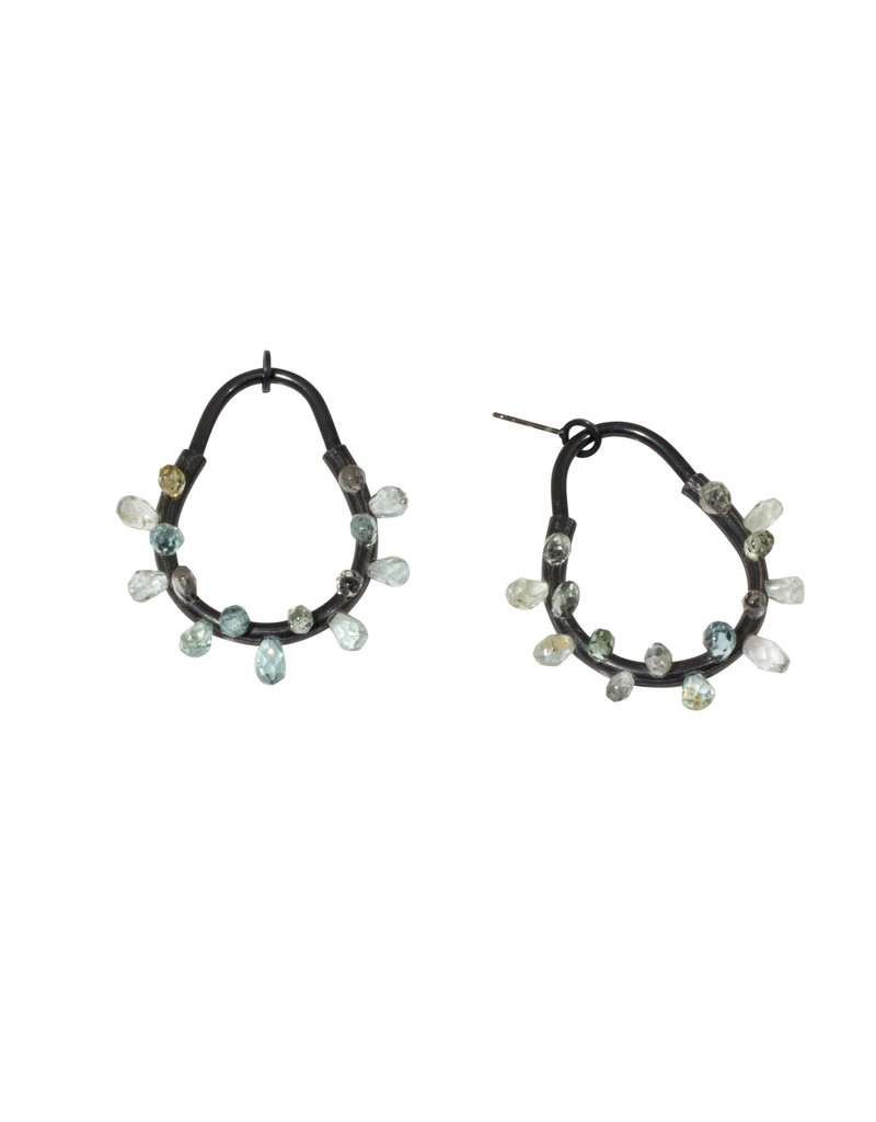 Post Earrings in Oxidized Silver and Aquamarine