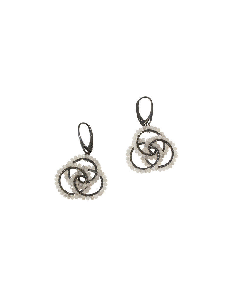 Natural Stone Earrings in Oxidized Silver
