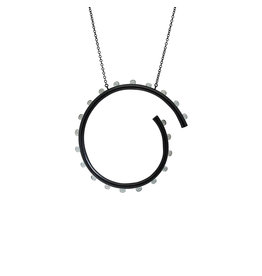 Circle Necklace in Oxidized Silver with Aquamarine