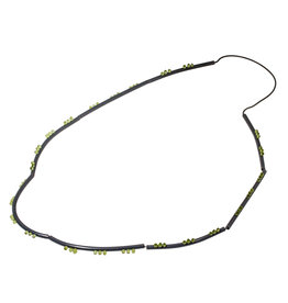 Long Necklace in Oxidized Silver with Peridot