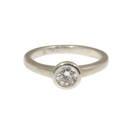 Raised Cup Solitaire with Diamond in 14k White Gold