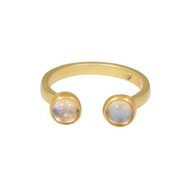 Double Moonstone Ring in 18k & 22k Gold