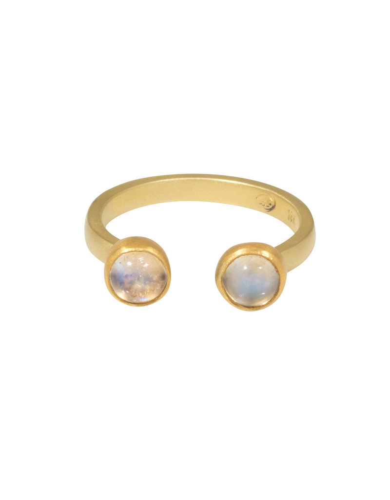 Double Moonstone Ring in 18k & 22k Gold
