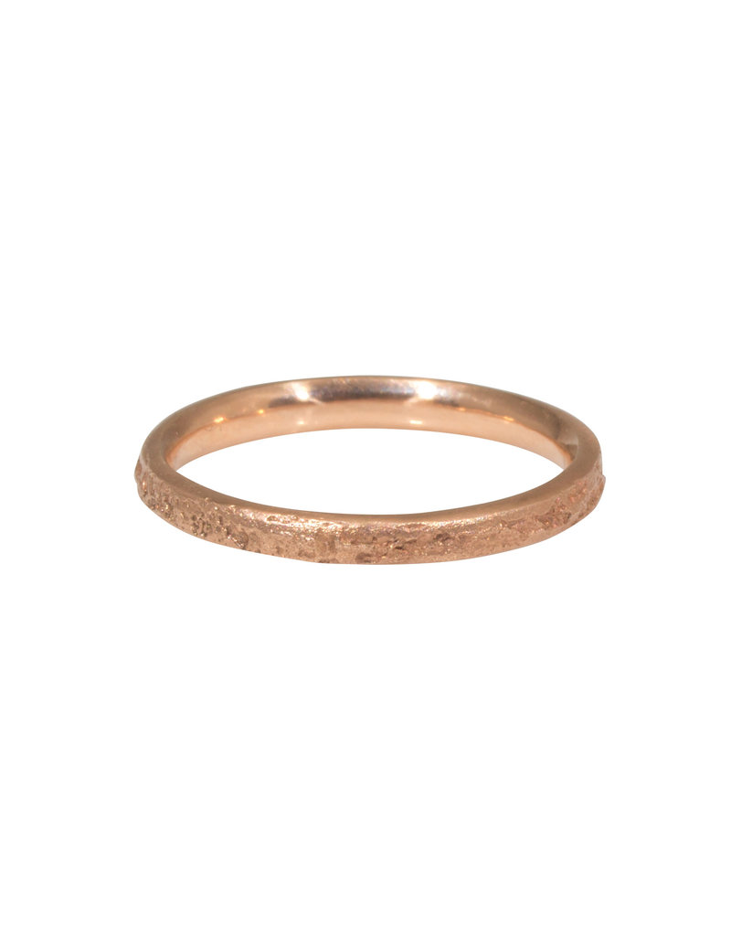 2.25mm Narrow Silk Texture Ring in 14k Rose Gold