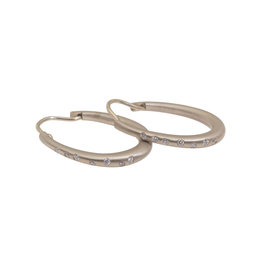 Oval Hoop Earrings in 18k Palladium White Gold with White Diamonds