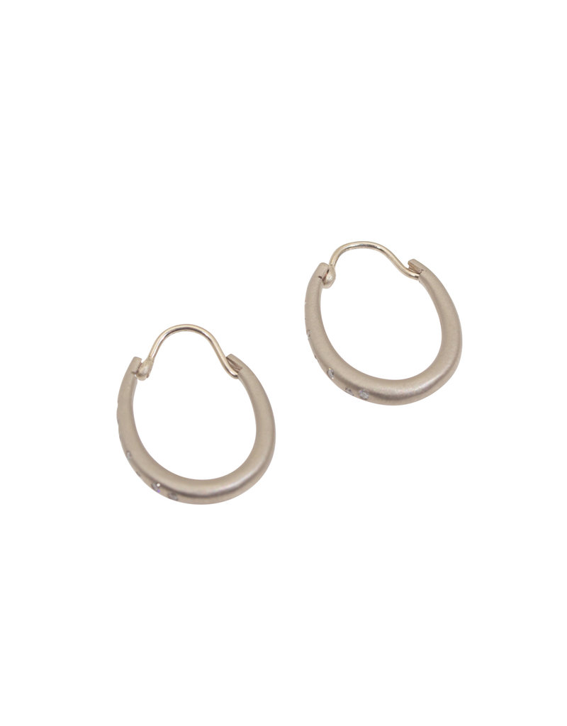 Small Oval Katachi Hinged Hoop Earrings in 18k Palladium White Gold with White Diamonds
