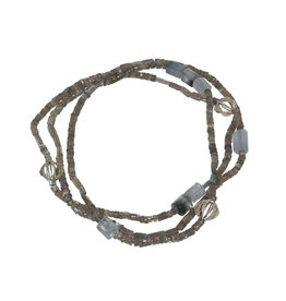 Labradorite, Actinolite in Quartz and Silver Banksia Bead Necklace