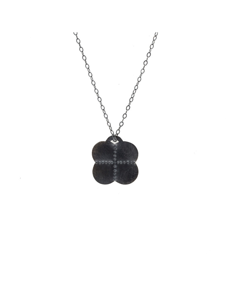 Scalloped Four Quarter Pendant in Oxidized Silver