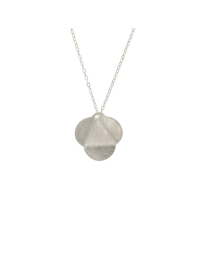 Medium Tri-Fold Pendant in Brushed Silver