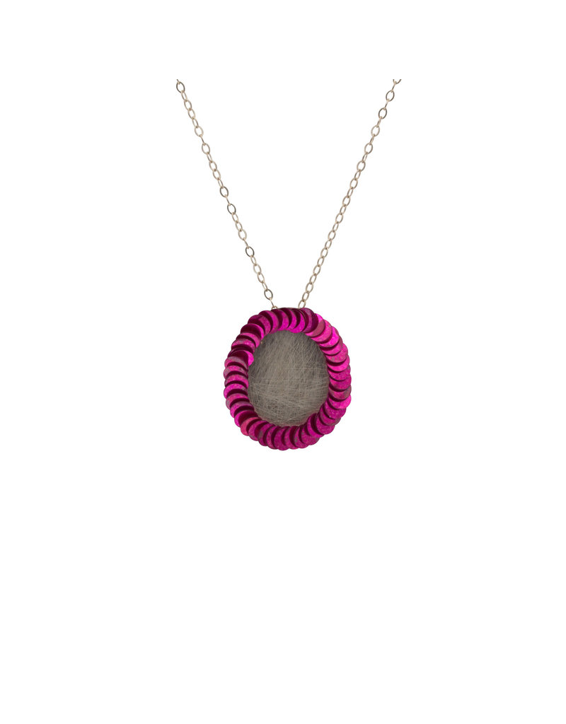 Large Perimeter Pendant in Silver with Pink Sequins