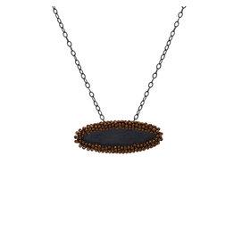 Horizontal Oval Perimeter Pendant with Brown Glass Beads