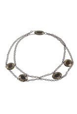 Multiple Oval Perimeter Necklace in Silver with Brown Glass Beads