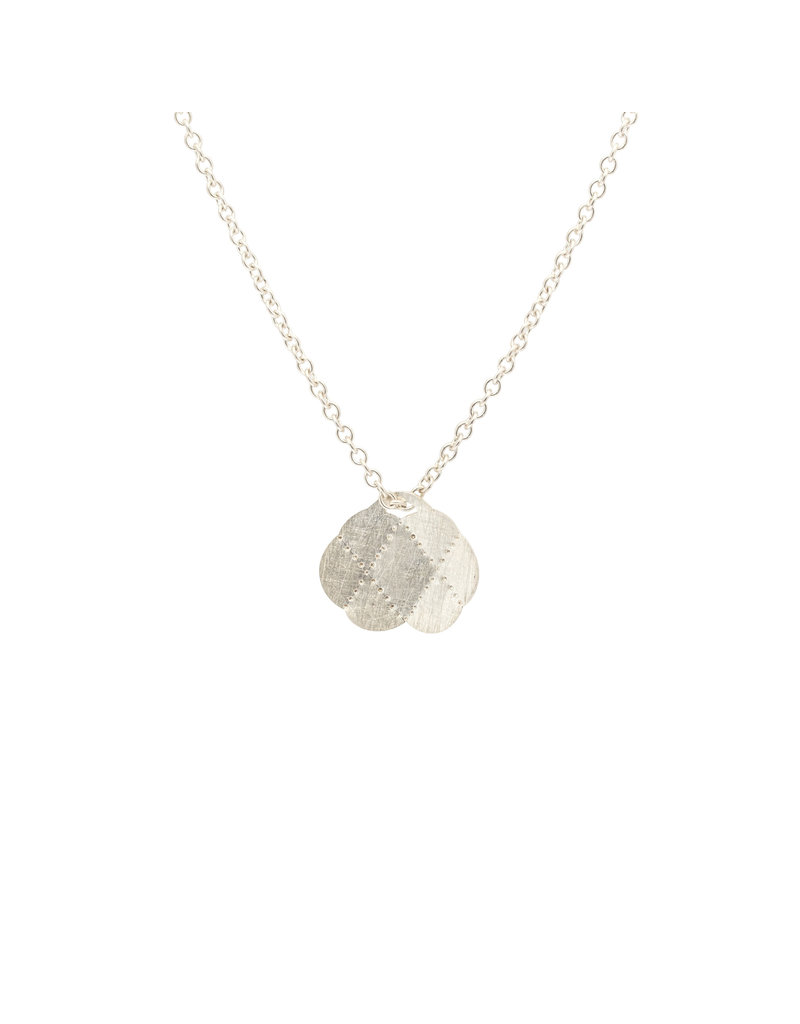 Medium Scalloped Pendant in Brushed Silver