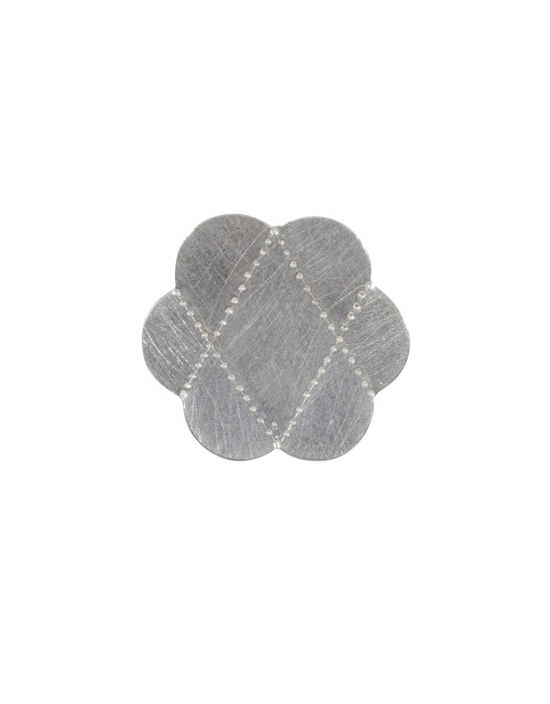 Large Criss Cross Ring in Brushed Silver