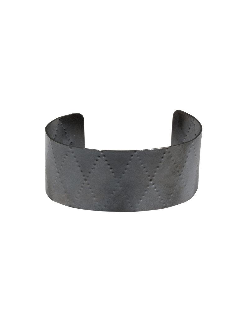 Wide Criss Cross Cuff in Oxidized Silver