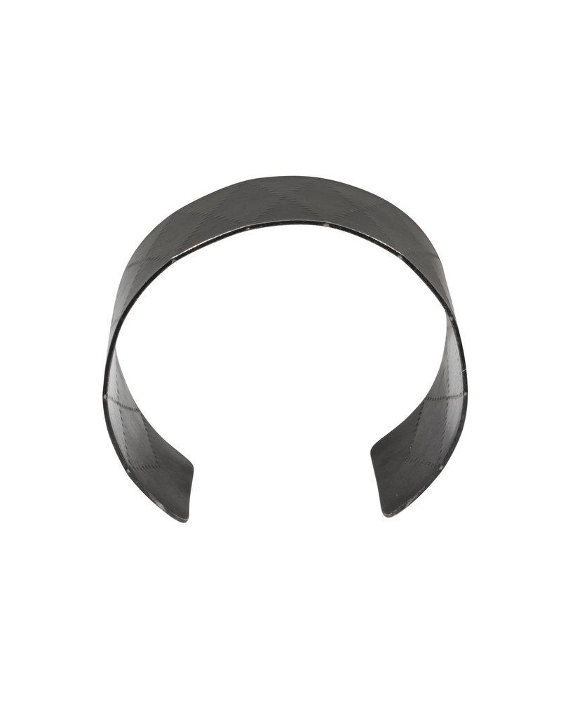 Extra Wide Criss Cross Cuff in Oxidized Silver