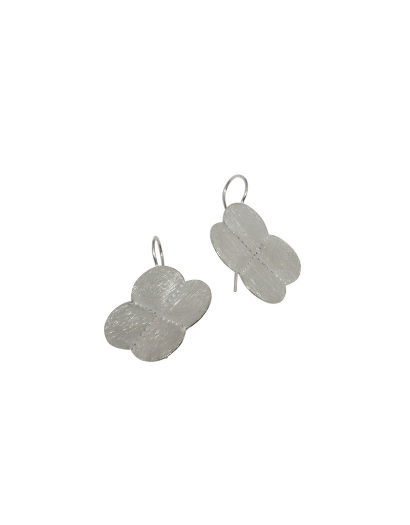 Small Criss Cross Earrings in Brushed Silver