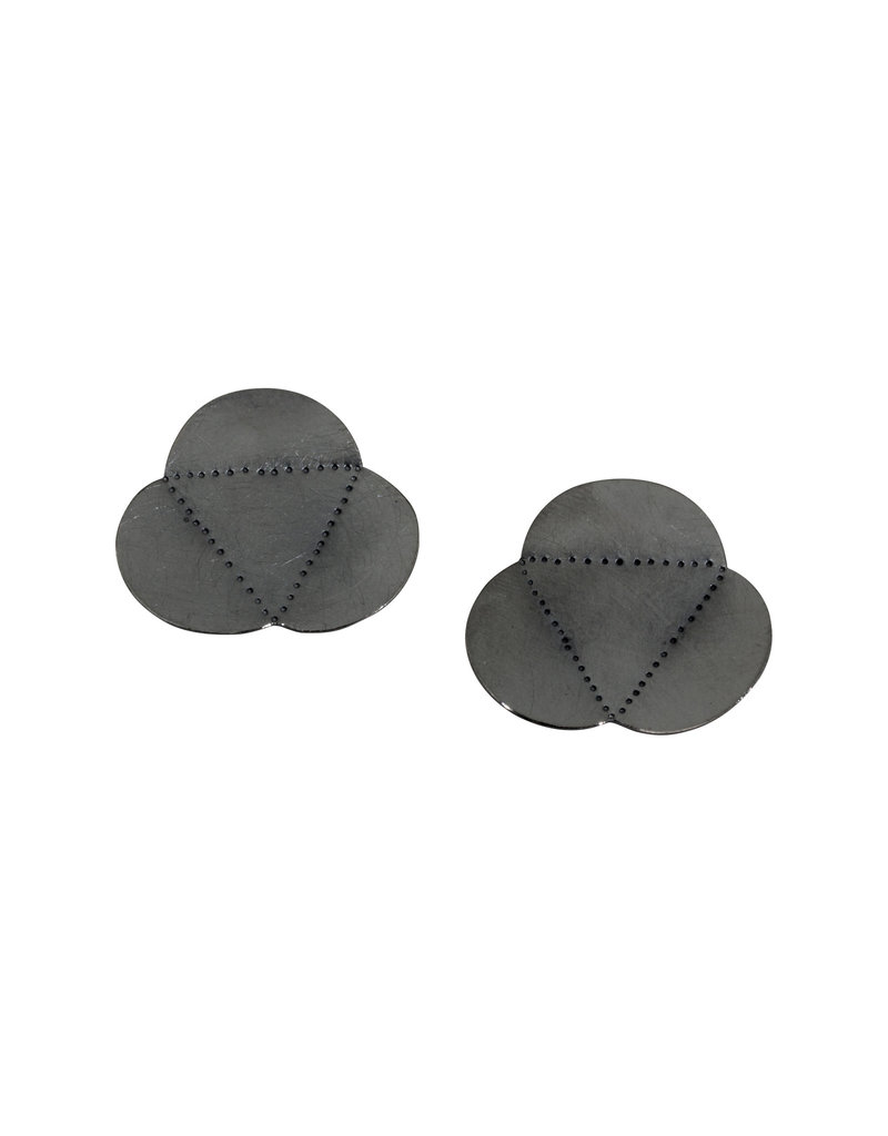 Scalloped Tri-Fold Post Earrings in Oxidized Silver