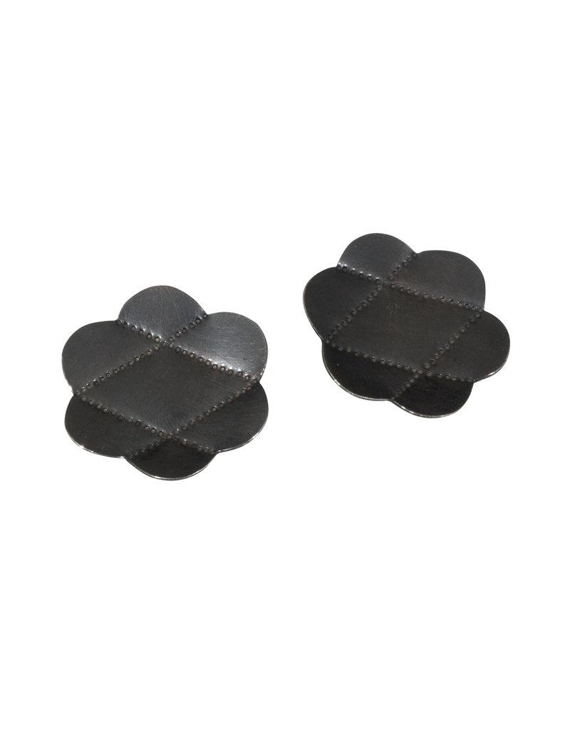 Large Criss Cross Post Earrings in Oxidized Silver