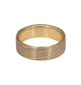 Nick Engel 6mm Mokume Gane Tri-color Mixed Metal Band with 18k Yellow Gold Interior