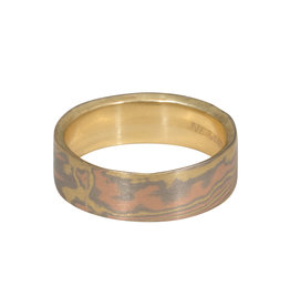Nick Engel Organic Mokume Mixed Metal Tri-color 18k Yellow Gold Interior