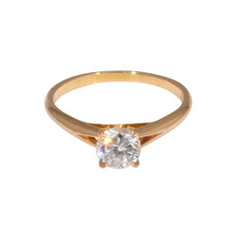 Nick Engel Split Shank Engagement Ring with CZ in 18k Rose Gold