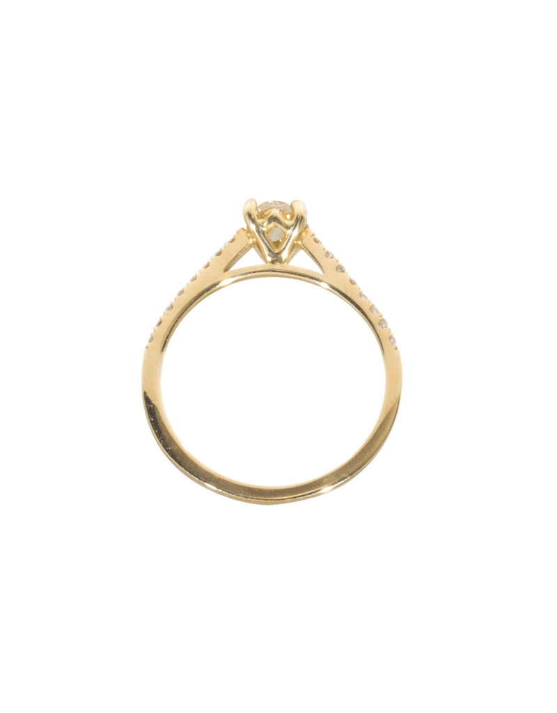 Nick Engel Apex Engagement Ring with Small Side Diamonds in 18k Yellow Gold
