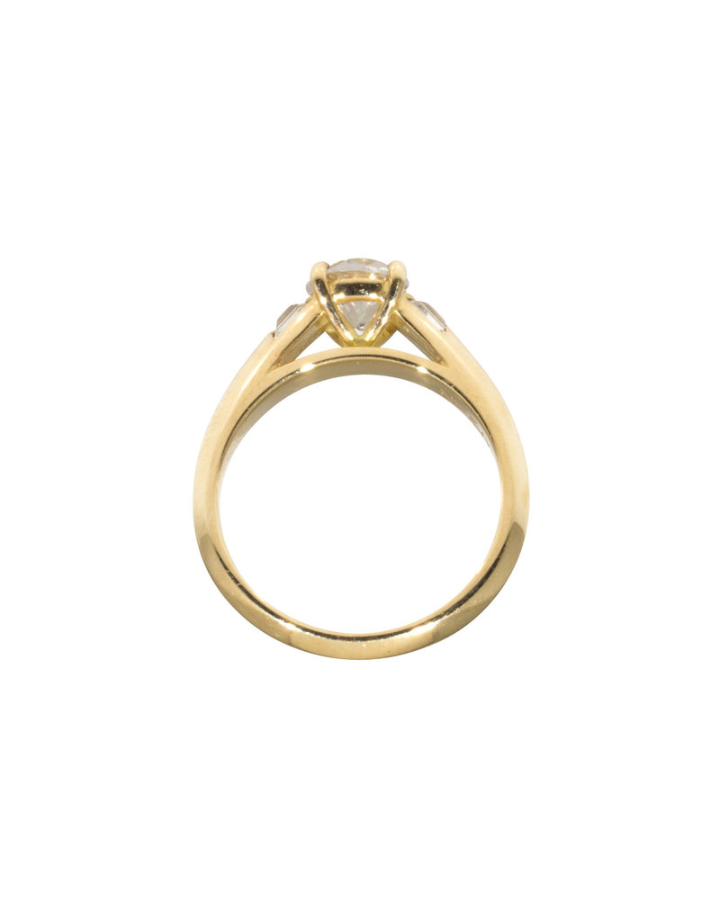 Nick Engel Muse Engagement Ring in 18k Yellow with Inverted Baguette Shoulders and CZ