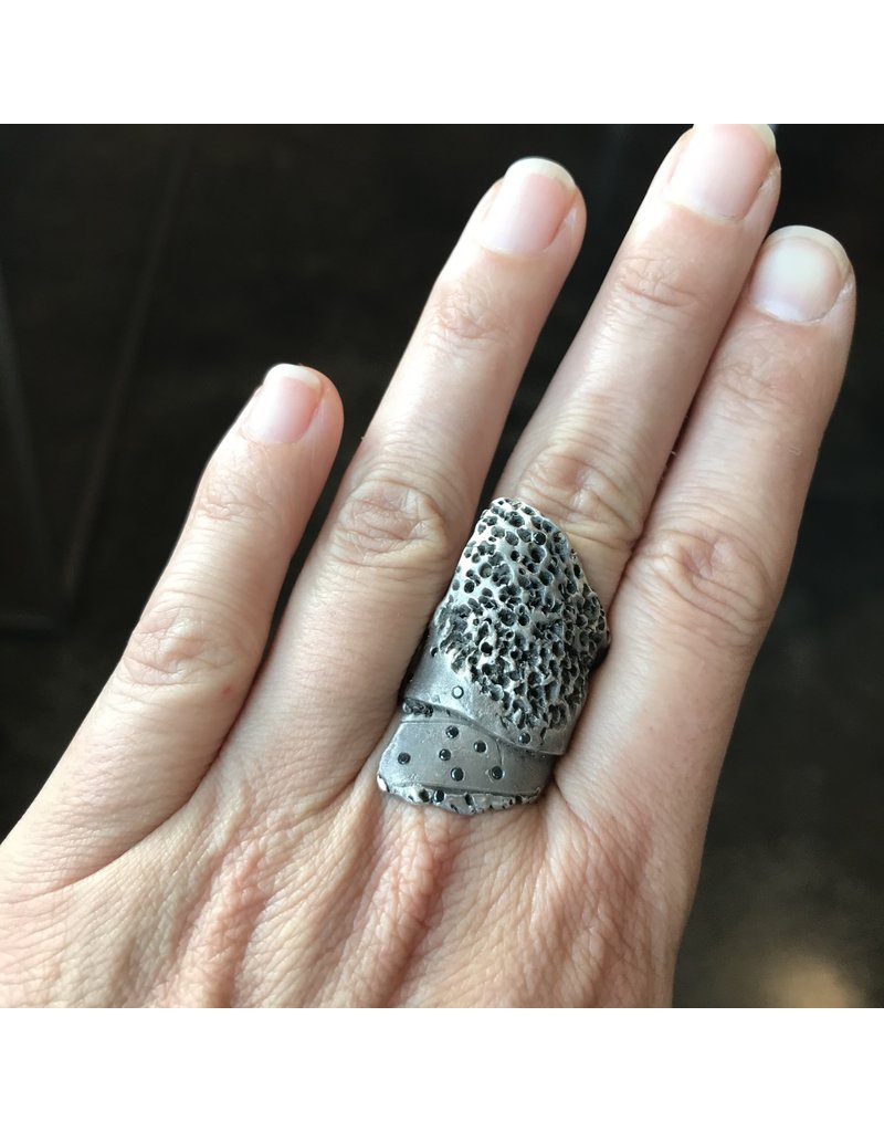 Organic Coral Textured Ring with Black Diamonds