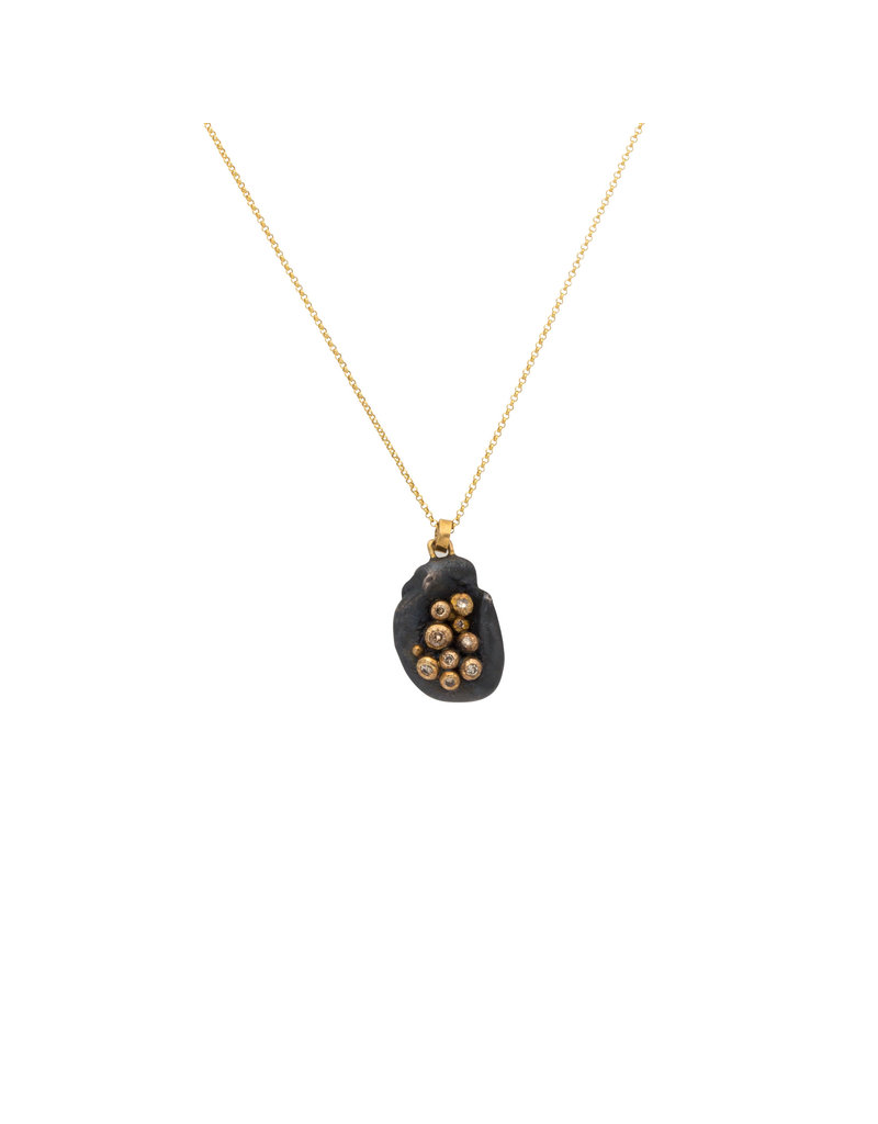 Brandon Holschuh Organic Shaped Pendant with Diamonds in 18k Yellow Gold and Oxidized Silver