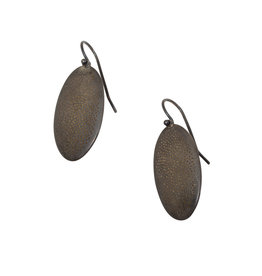 Small Perforated Beetle Earring in Oxidized Silver and 22k Gold