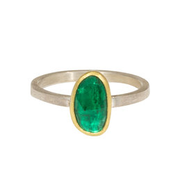 Sam Woehrmann Rosecut Emerald Ring in Silver & 22k Gold