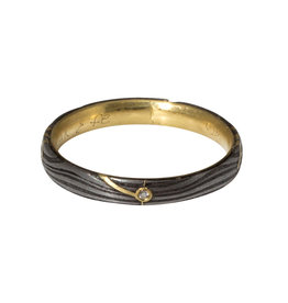 Sea Floor Ring with Diamond in 18k Yellow Gold