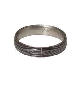 Damascus Steel Ring with Palladium Liner