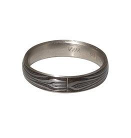 Damascus Steel Ring with Palladium Liner