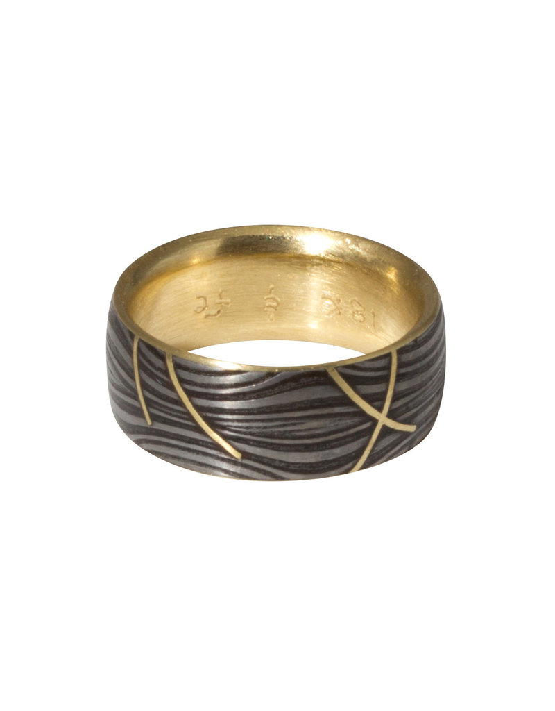 Sea Floor Band in Damascus Steel with 18k Yellow Gold Lining