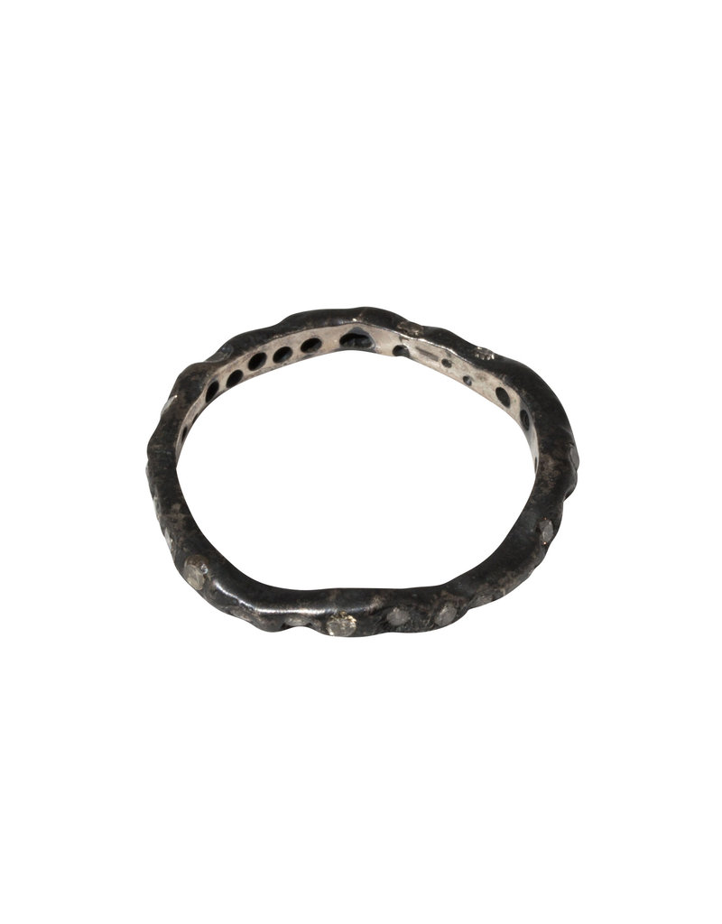 Brandon Holschuh Simple Fused Band with White Diamonds in Oxidized Silver