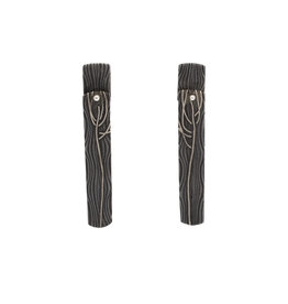 Branchy Dangle Earrings in Damascus Steel and Silver
