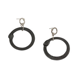 Big Circle Earrings in Damascus Steel and Silver