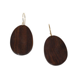 Oval Wood Earrings with 14k Yellow Gold