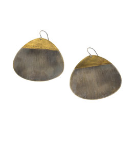 Large Teardrop Earrings in Silver and Brass