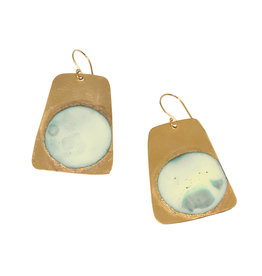 Gold-Plated Brass Earrings with Blue Enamel Circles