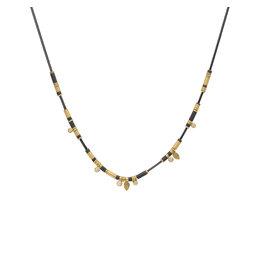 Cheryl Rydmark Oxidized Silver and Gold Necklace with Six Diamonds