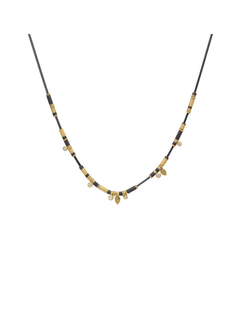 Cheryl Rydmark Oxidized Silver and Gold Necklace with Six Diamonds